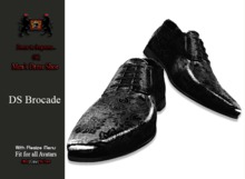 GQ DS Black Brocade Leather Dress Shoes