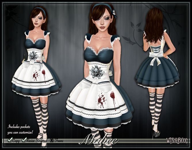 "[Wishbox] Alice ""Malice"" in Wonderland Dress - Goth Gothic Lolita EGL Dark Alice Halloween Costume Jumper"