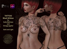 "CHAMELEON - Tattoo ""Black Widow "" for body Maitreya and Omega Applier"