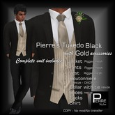 Pierre Styles  Mesh Tux BLACK with GOLD[Appliers Huds for Adam,Signature,Jake,Slink