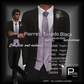 Pierre Styles  Mesh Tux BLACK with LAVENDER * Compatible with Adam,Slink,Signature,Belleza