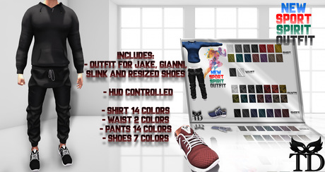 ^TD^New Sport Spirit Outfit  for JAKE, GIANNI, SLINK and RESIZED SHOES