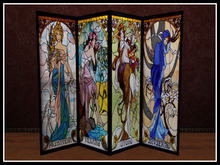 RE Four Seasons Stained Glass Screen - Folding Room Divider - Vintage Decor