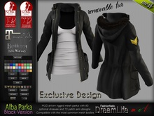 ALBA BLACK Female Parka with Dress MESH - MAITREYA, BELLEZA Isis & Freya, PHYSIQUE, HOURGLASS - FashionNatic