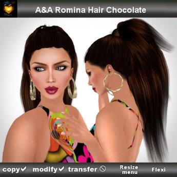 A&A Romina Hair Chocolate (straight ponytail style)