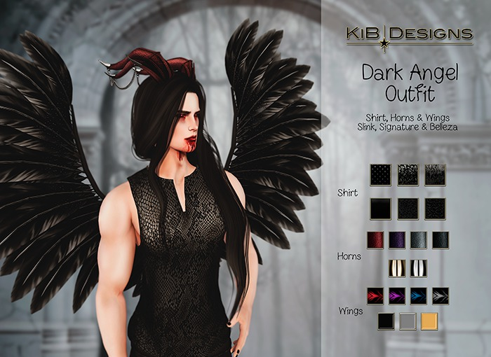 KiB Designs - Dark Angel Male Horns FATPACK