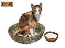 Cat in basket with milk - Old World - Rustic Furniture