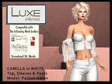 LUXE Paris CAMILLA in WHITE Top, Sleeves & Pants