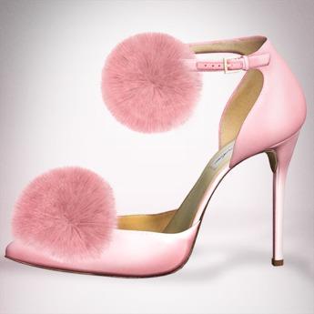 (Geisha.) Trisha Fur Pumps - Pink