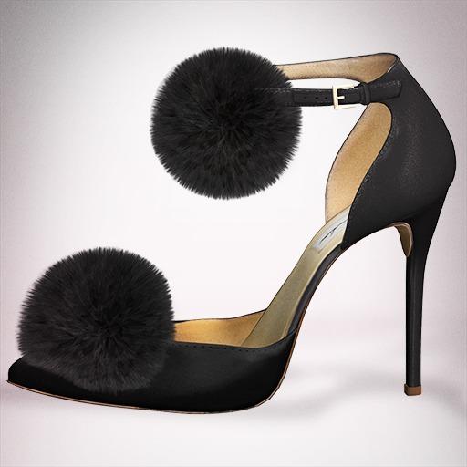 (Geisha.) Trisha Fur Pumps - Black