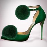 (Geisha.) Trisha Fur Pumps - Green