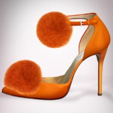 (Geisha.) Trisha Fur Pumps - Orange