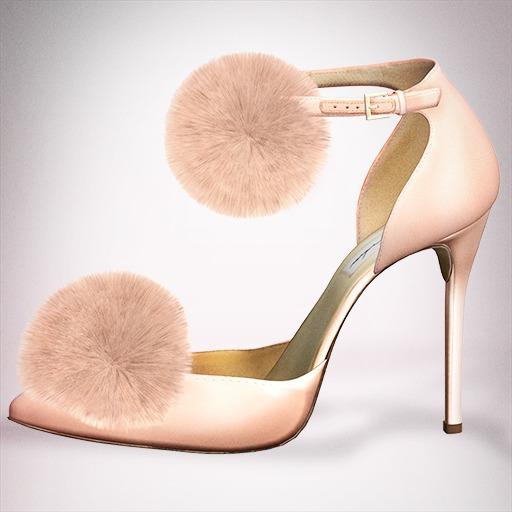 (Geisha.) Trisha Fur Pumps - Peach