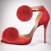 (Geisha.) Trisha Fur Pumps - Red