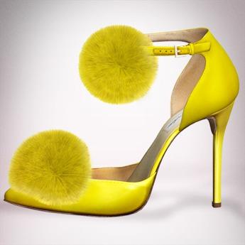 (Geisha.) Trisha Fur Pumps - Yellow