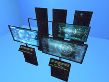 A Set of Sci-fi Mesh Displays and Data Panels
