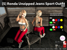 [S] Ronda Unzipped Jeans Sport Outfit Red