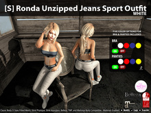 [S] Ronda Unzipped Jeans Sport Outfit White