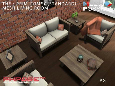 MeshPossible 1 Prim Comfy Mesh Living Room Standard PG