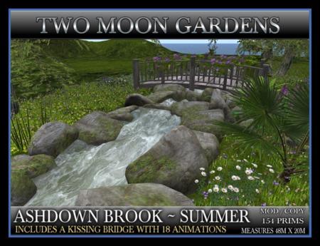 ASHDOWN BROOK - SUMMER ~ Landscaped Garden. River or stream with Kissing Bridge
