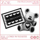 Z.O.E. I'm Pregnant Bear - White