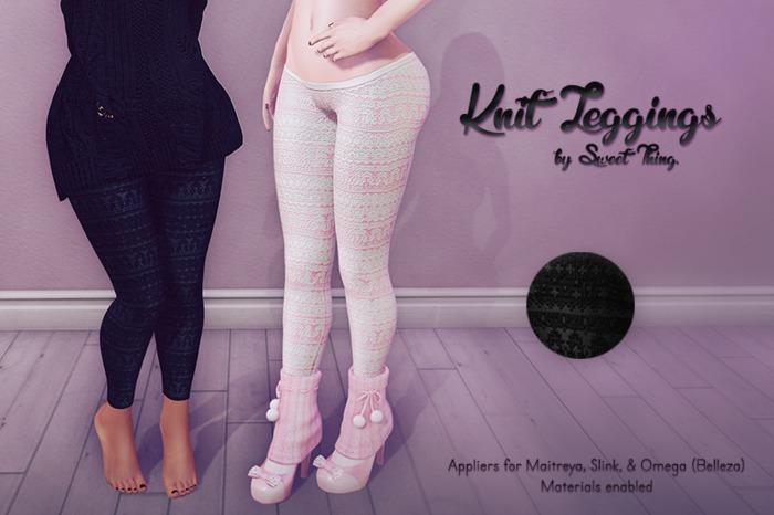 Sweet Thing. Knit Leggings - Coal Applier (Maitreya, Slink, Omega)