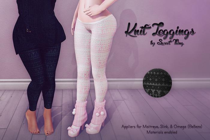 Sweet Thing. Knit Leggings - Gray Applier (Maitreya, Slink, Omega)