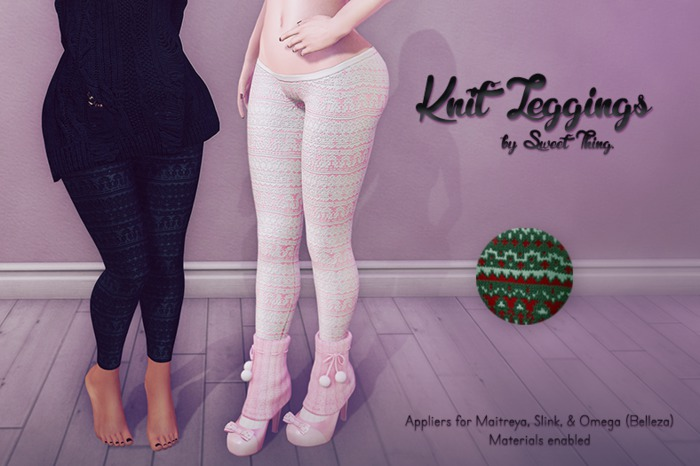 Sweet Thing. Knit Leggings - Pine Applier (Maitreya, Slink, Omega)