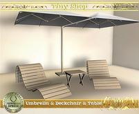 Umbrella, sun bed and table, 100%mesh (full perm).