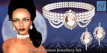Alyssa Bijoux - Victorian Pearl Cameo Choker & Earring Set