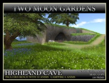 HIGHLAND CAVE* Landscape Garden Cliffs and cave with waterfall and stream.