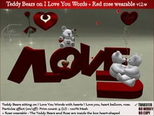 Teddy Bears on I Love You Words + red rose wearable in heart gift box