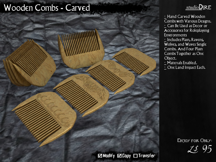 /studioDire/ Wooden Combs - Carved