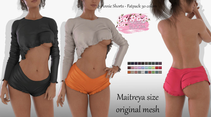 Annie EXCLUSIVE Female Shorts Mesh- MAITREYA LARA - FATPACK 30 Color HUD CB collection