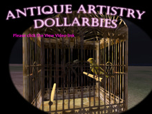 """DOLLARBIE """"Pretty Bird"""" Canary in Victorian cage"""