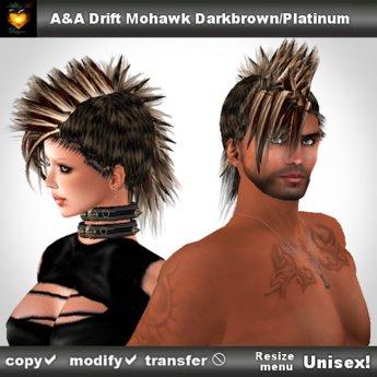 A&A Drift Mohawk Darkbrown w Platinum Tips (unisex punk mohawk style)