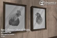 [ Organica ] Hen & Rooster Inkwash Prints