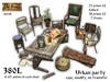 Urban camp / party - old chairs with table - Old World - Medieval furniture - Hobo / Urban Furniture