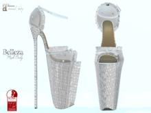 ~PP~ White Shimmering Platform Heels