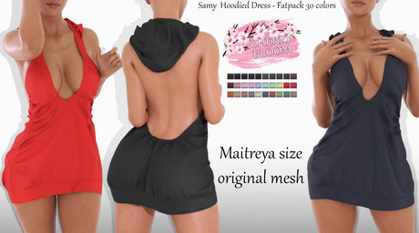 Samy EXCLUSIVE Female  Hoodied Dress - MAITREYA LARA - FATPACK 30 Color HUD CB collection