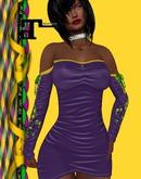 XK Maitreya Off Shoulder String Dress Mardi Gras
