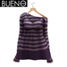 BUENO-Cozy Sweater- Plum Stripes