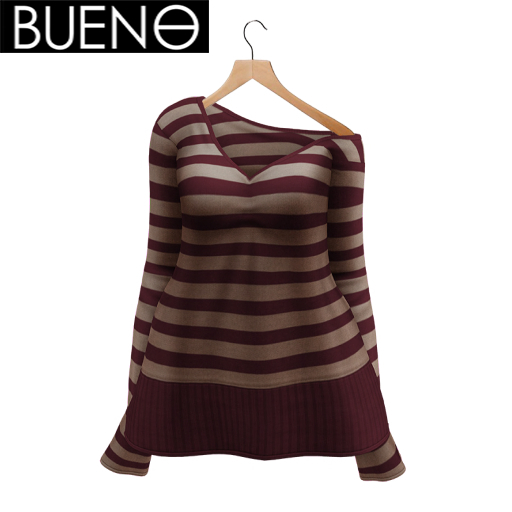BUENO-Cozy Sweater- Red and Tan Stripe