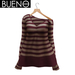 Bueno cozy sweater  red and tan stripe