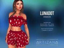 Artizana - Lunadot (Crimson) - Fit Mesh Crop Top + Shorts