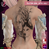 TATTOO - on back - Girl with Wolf