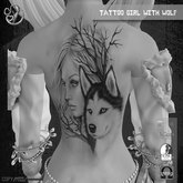 TATTOO - on back - Girl with Wolf - DEMO
