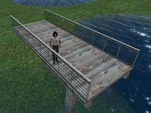 Rustic Wood Pier Walkway or Bridge with Metal Rails (MC)(10X4)