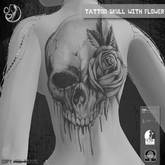 TATTOO - on back - Skull with Flower - DEMO