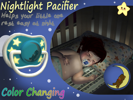 Nightlight Pacifier / Binky (Stars & Moon) Color Changing